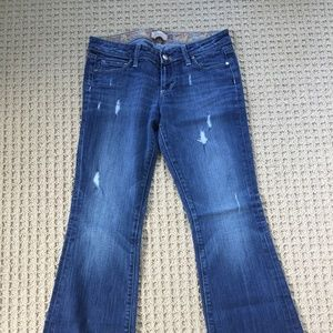 Paige petite flare distressed jeans, size 29